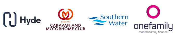 Hyde, Caravan and Motorhome Club, Southern Water and OneFamily logos